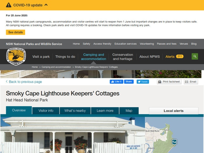 http://www.nationalparks.nsw.gov.au/camping-and-accommodation/accommodation/smoky-cape-lighthouse-keepers-cottages